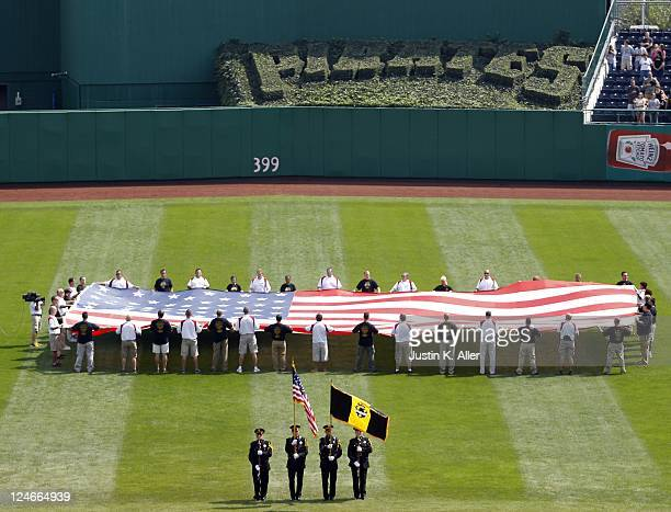 Detailed view of PNC Park during the ceremony to commemorate September 11th, 2001 before the game between the Pittsburgh Pirates and the Florida...