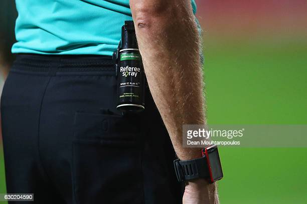 A detailed view of Pol van Boekel's can of referee spray also known as vanishing spray or vanishing foam during the Eredivisie match between Ajax...