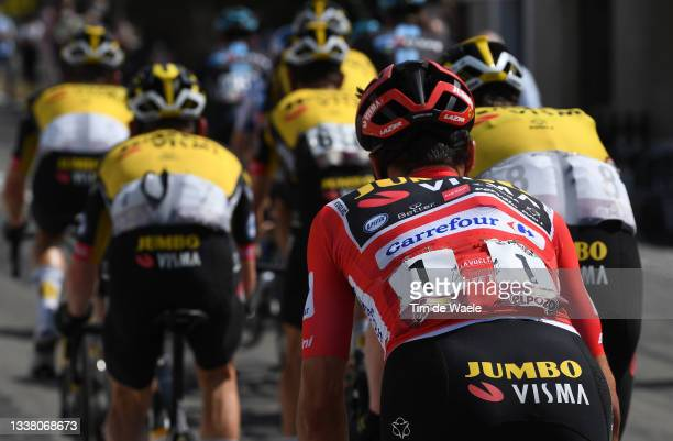 Detailed view of Primoz Roglic of Slovenia and Team Jumbo - Visma red leader jersey competes during the 76th Tour of Spain 2021, Stage 19 a 191,2 km...