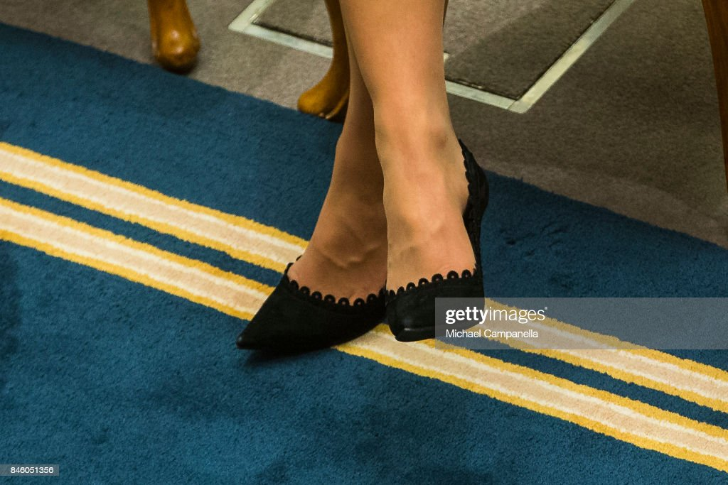 A detailed view of Princess Victoria of Sweden's shoes while she attends the opening of the Parliamentary session on September 12, 2017 in Stockholm, Sweden.