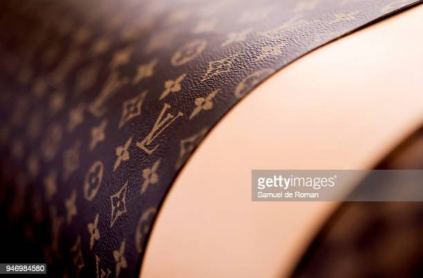 A detailed view of printed leather displayed during 'Time Capsule' by Louis Vuitton Exhibition on April 16 2018 in Madrid Spain
