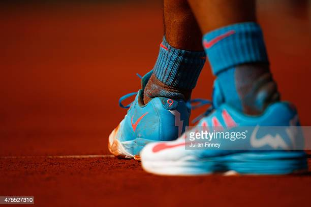 A detailed view of Rafael Nadal of Spain's shoe as he plays his Men's Singles match against Jack Sock of the United States on day nine of the 2015...