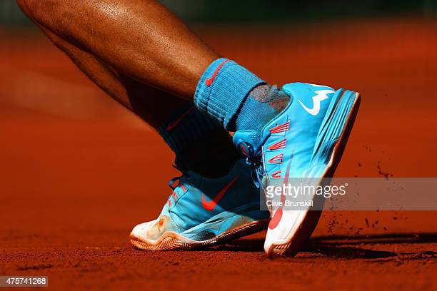 A detailed view of Rafael Nadal of Spain's shoes in his Men's quarter final match against Novak Djokovic of Serbia on day eleven of the 2015 French...