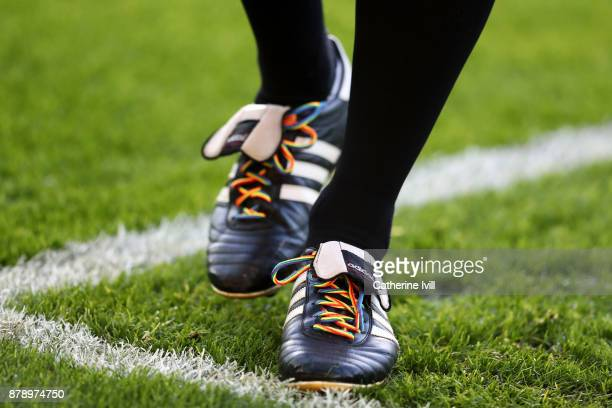 A detailed view of rainbow laces prior to the Premier League match between Manchester United and Brighton and Hove Albion at Old Trafford on November...