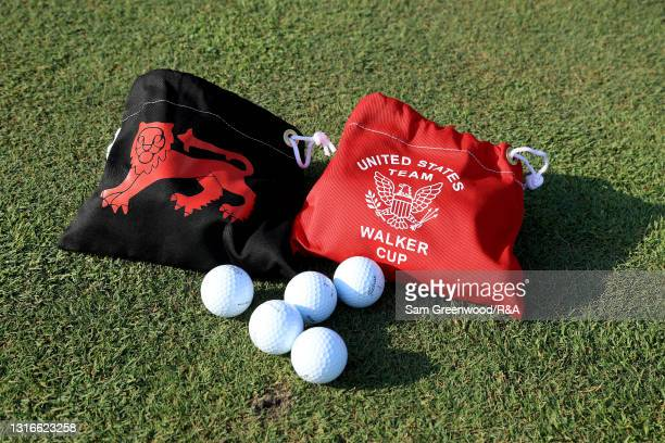 Detailed view of range bags during a practice day prior to The Walker Cup at Seminole Golf Club on May 06, 2021 in Juno Beach, Florida.