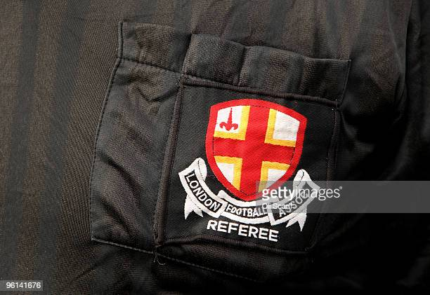 A detailed view of referee Andy O'Reilly's shirt badge during a Sunday League football match on the Hackney Marshes pitcheson January 24 2010 in...