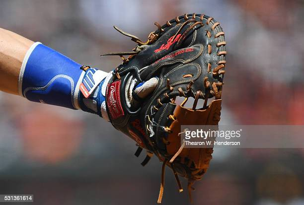 A detailed view of Russell Martin of the Toronto Blue Jays wearing a Rawling catchers glove catching against the San Francisco Giants at ATT Park on...