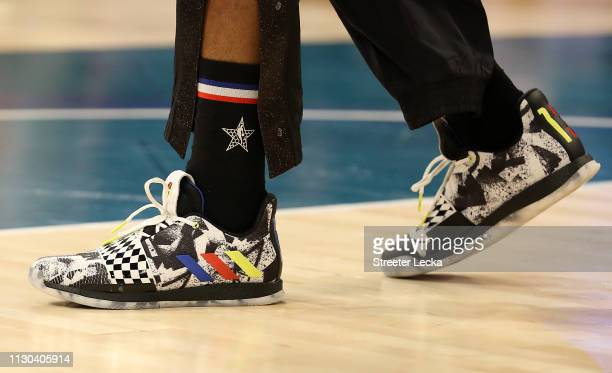A detailed view of shoes worn by James Harden of the Houston Rockets and Team LeBron are seen before taking on Team Giannis during the NBA AllStar...