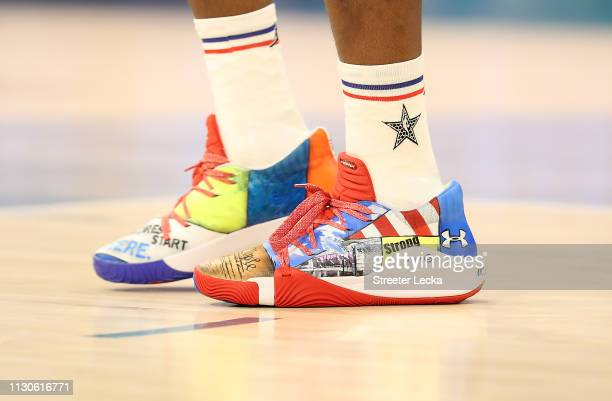 A detailed view of shoes worn by Joel Embiid of the Philadelphia 76ers and Team Giannis before taking on Team LeBron during the NBA AllStar game as...