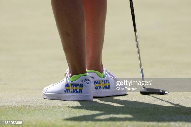 Detailed view of shoes worn by Madelene Sagstrom of Team Sweden are seen during the first round of the Women's Individual Stroke Play on day twelve...