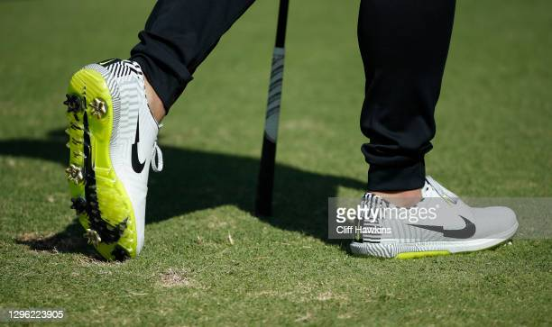 Detailed view of shoes worn by Si Woo Kim of South Korea is seen during the Pro-Am Tournament prior to the Sony Open at Waialae Country Club on...
