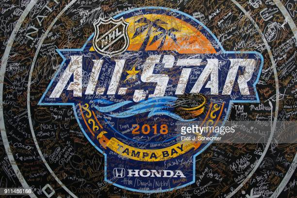 A detailed view of signage is seen during the PreGame Mascot Showdown at Amalie Arena on January 28 2018 in Tampa Florida
