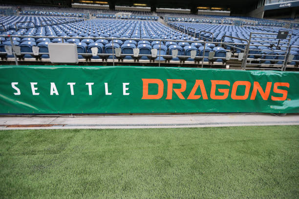 A detailed view of signage prior to a game between the Seattle Dragons and Tampa Bay Vipers at CenturyLink Field on February 15 2020 in Seattle...