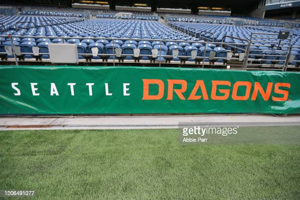 Detailed view of signage prior to a game between the Seattle Dragons and Tampa Bay Vipers at CenturyLink Field on February 15, 2020 in Seattle,...