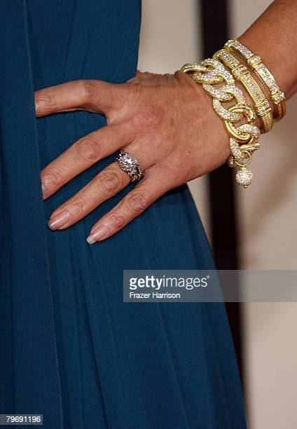 A detailed view of singer/actress Tia Carrere's jewelry is seen as she arrives at the 50th annual Grammy awards held at the Staples Center on...