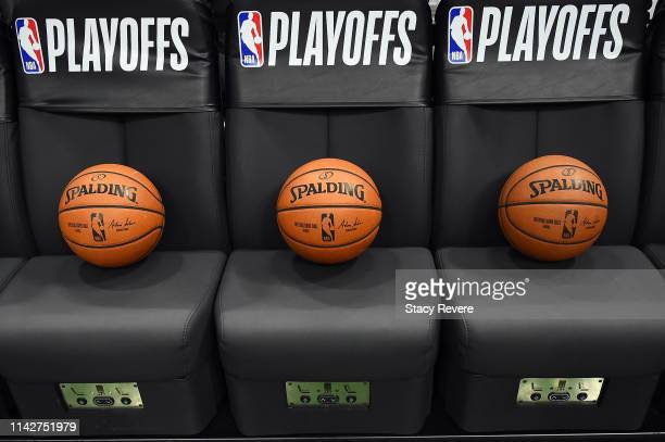 A detailed view of Spalding basketballs sitting on the Milwaukee Bucks bench prior to Game One of the first round of the 2019 NBA Eastern Conference...