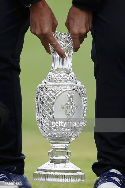 Detailed view of Team Europe Captain Catriona Matthew holds the Solheim Cup Trophy during the Official team photo call during practice day 2 for The...