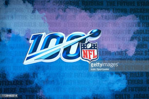 A detailed view of the 100 year NFL crest logo is seen during the NFL Scouting Combine on March 02 2019 at the Indiana Convention Center in...
