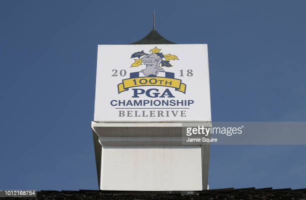 A detailed view of the 100th PGA Championship Bellerive logo is seen atop a building during a practice round prior to the 2018 PGA Championship at...