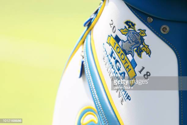 A detailed view of the 100th PGA Championship Bellerive logo is seen on a golf bag belonging to Alex Noren of Sweden during a practice round prior to...