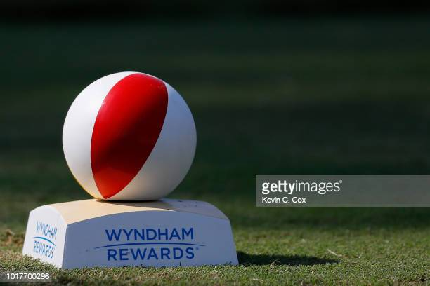 Detailed view of the 11th tee box during the first round of the Wyndham Championship at Sedgefield Country Club on August 16, 2018 in Greensboro,...