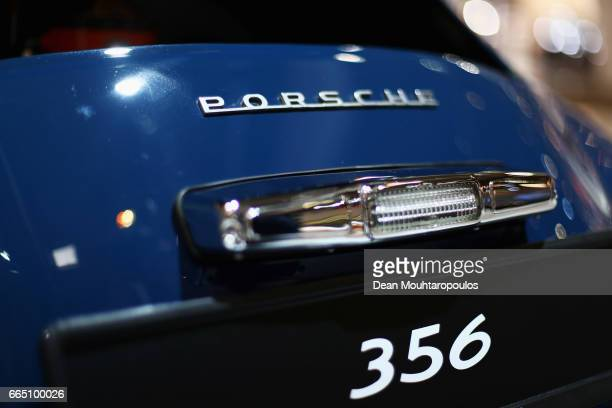 A detailed view of the 1952 Porsche 356 Pre A during the The 29th TechnoClassica Essen run by SIHA Salons Automobiles and held at Messe Essen on...