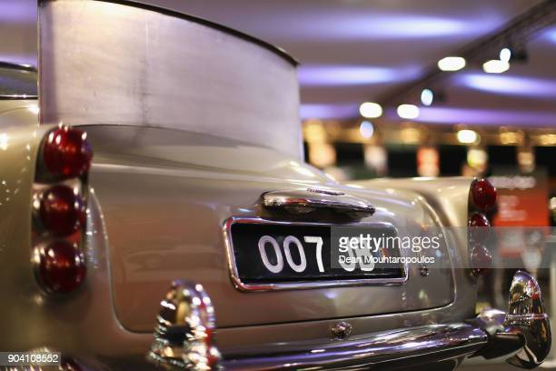 A detailed view of the 1964 Aston Martin DB5 James Bond movie car during the 25th edition of InterClassics Maastricht held at MECC Halls on January...