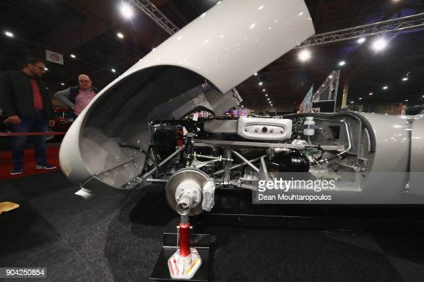 A detailed view of the 1972 Jaguar EType V12 under full restoration during the 25th edition of InterClassics Maastricht held at MECC Halls on January...