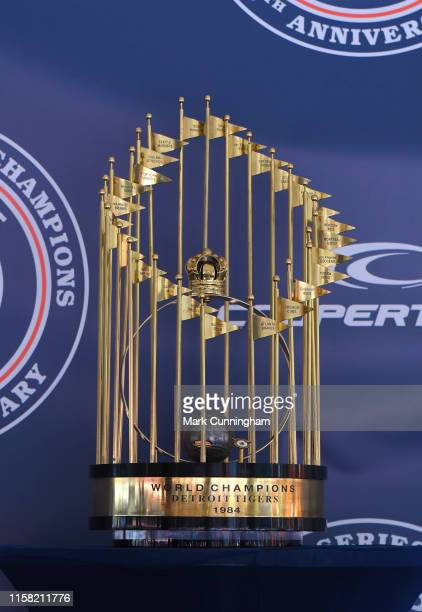 A detailed view of the 1984 Detroit Tigers World Championship trophy while on display during the game against the Washington Nationals at Comerica...