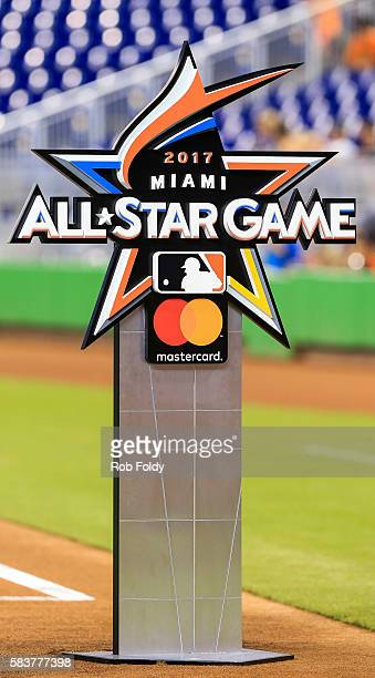 A detailed view of the 2017 AllStar Game logo that was unveiled before the game between the Miami Marlins and the Philadelphia Phillies at Marlins...