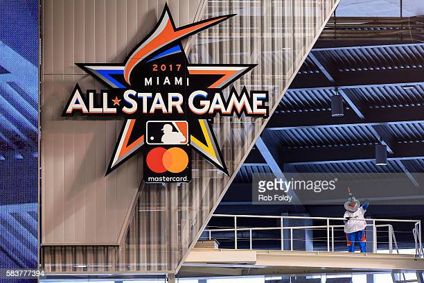 A detailed view of the 2017 AllStar Game logo that was unveiled in Marlins Park by Miami Marlins mascot Billy the Marlin before the game between the...