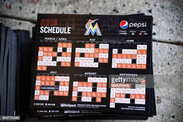 A detailed view of the 2018 Miami Marlins magnet calendar being handed before Opening Day against the Chicago Cubs at Marlins Park on March 29 2018...
