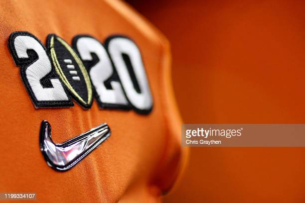 Detailed view of the 2020 Logo is seen on the jersey of the Clemson Tigers prior to the College Football Playoff National Championship game against...