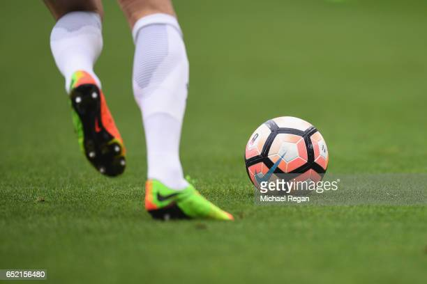 A detailed view of the action and match ball during The Emirates FA Cup QuarterFinal match between Middlesbrough and Manchester City at Riverside...