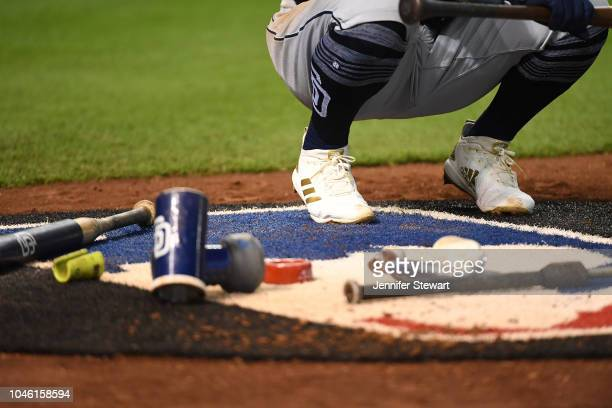 A detailed view of the Adidas baseball cleats worn by Freddy Galvis of the San Diego Padres in the on deck circle during the MLB game against the...