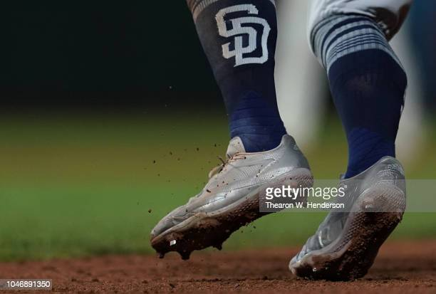 A detailed view of the Adidas baseball cleats worn by Freddy Galvis of the San Diego Padres against the San Francisco Giants in the top of the fifth...