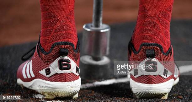 A detailed view of the Adidas Baseball shoes worn by Billy Hamilton of the Cincinnati Reds during the game against the Pittsburgh Pirates at PNC Park...