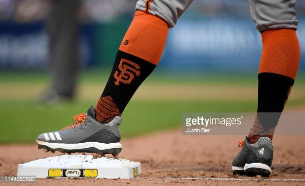 A detailed view of the Adidas baseball shoes worn by Brandon Belt of the San Francisco Giants during the game against the Pittsburgh Pirates at PNC...