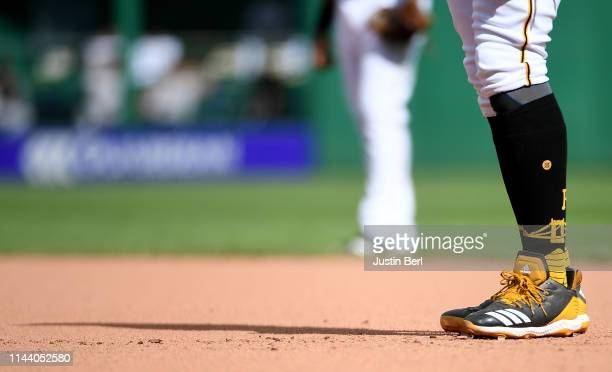 A detailed view of the Adidas baseball shoes worn by Josh Bell of the Pittsburgh Pirates during the game against the San Francisco Giants at PNC Park...