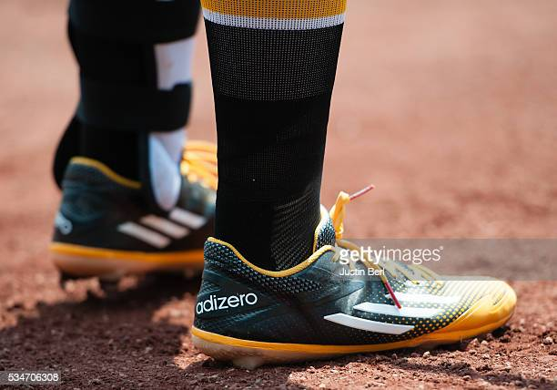 A detailed view of the Adidas baseball shoes worn by Josh Harrison of the Pittsburgh Pirates during the game against the Colorado Rockies at PNC Park...