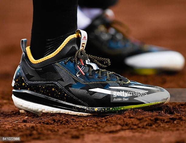 A detailed view of the Adidas baseball shoes worn by Josh Harrison of the Pittsburgh Pirates during the game against the Los Angeles Angels of...