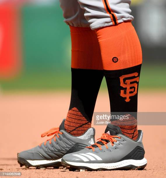 A detailed view of the Adidas baseball shoes worn by Kevin Pillar of the San Francisco Giants during the game against the Pittsburgh Pirates at PNC...