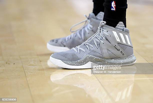 A detailed view of the Adidas basketball shoe worn by Brandon Knight of the Phoenix Suns against the Golden State Warriors during an NBA basketball...