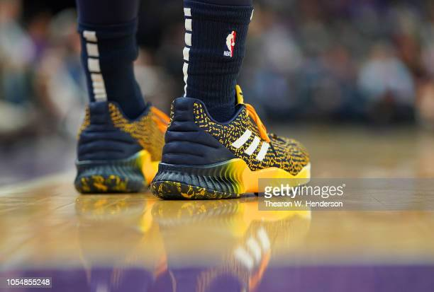 A detailed view of the Adidas basketball shoe worn by Donovan Mitchell of the Utah Jazz against the Sacramento Kings during the first half of their...