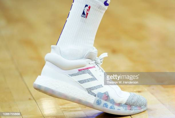 A detailed view of the Adidas basketball shoes worn by Brandon Ingram of the Los Angeles Lakers against the Sacramento Kings during an NBA basketball...