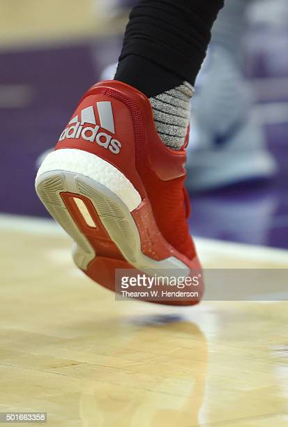 A detailed view of the Adidas basketball shoes worn by James Harden of the Houston Rockets against the Sacramento Kings during an NBA basketeball...
