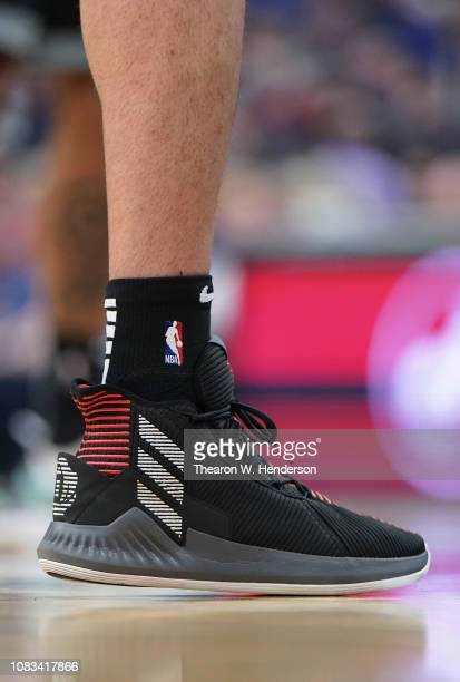 A detailed view of the Adidas basketball shoes worn by Nemanja Bjelica of the Sacramento Kings against the Golden State Warriors during an NBA...