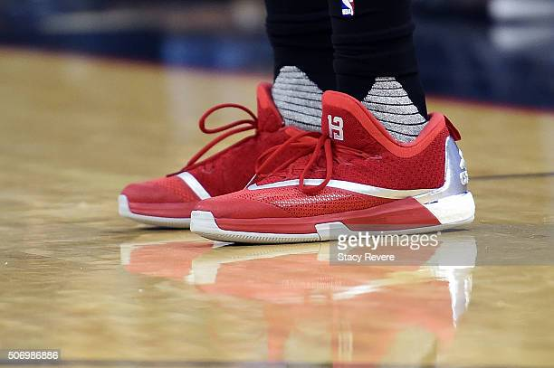 A detailed view of the Adidas basketball sneakers worn by James Harden of the Houston Rockets during a game against the New Orleans Pelicans at the...