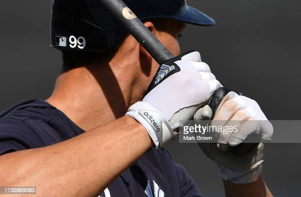 A detailed view of the Adidas batting glove worn by Aaron Judge of the New York Yankees during batting practice before the spring training game...