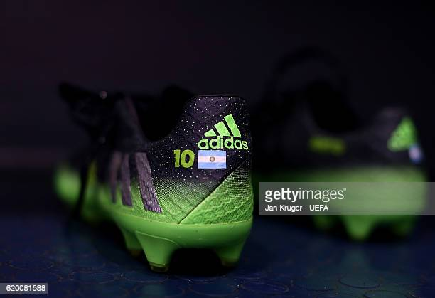 A detailed view of the Adidas boots of Lionel Messi of Barcelona ahead of the UEFA Champions League match between Manchester City FC and FC Barcelona...